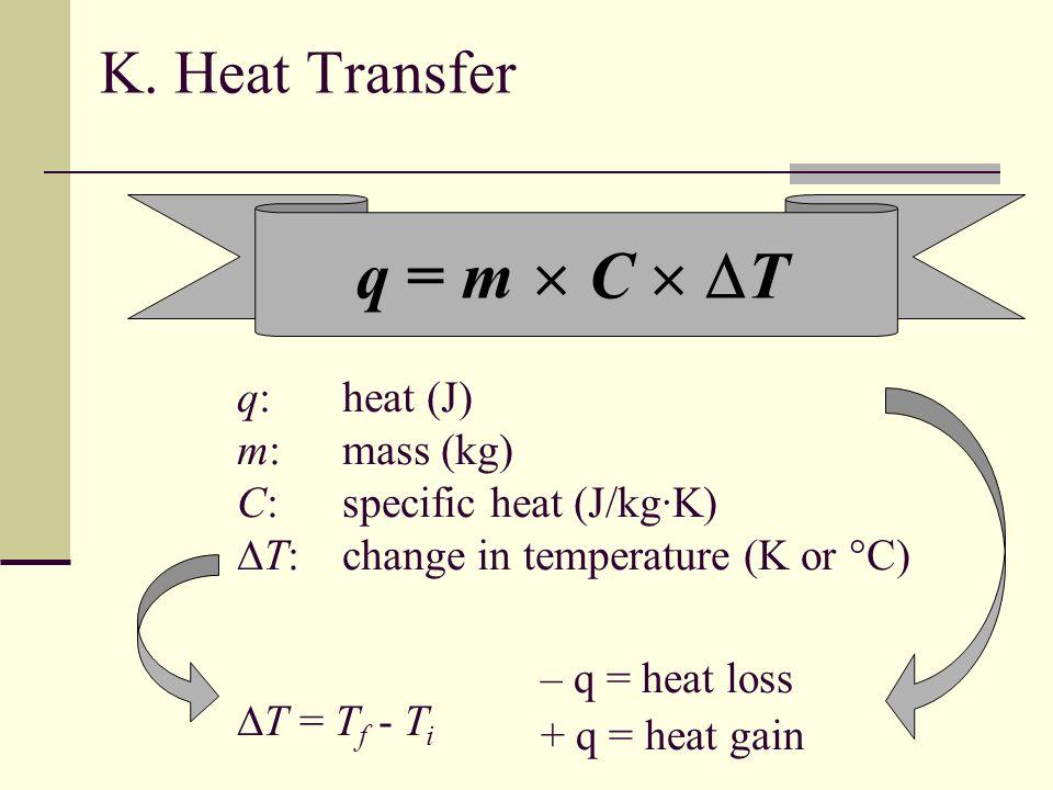 K. Heat Transfer q = m C T q:heat (J) m:mass (kg) C:specific heat (J/kg·K) T:change in temperature (K or °C) T = T f - T i – q = heat loss + q = heat
