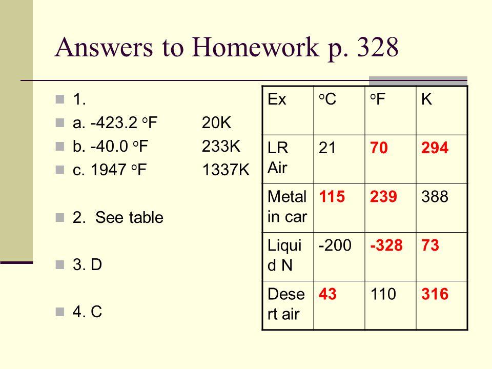 Answers to Homework p. 328 1. a. -423.2 o F20K b. -40.0 o F233K c. 1947 o F1337K 2. See table 3. D 4. C Ex oCoC oFoFK LR Air 2170294 Metal in car 1152