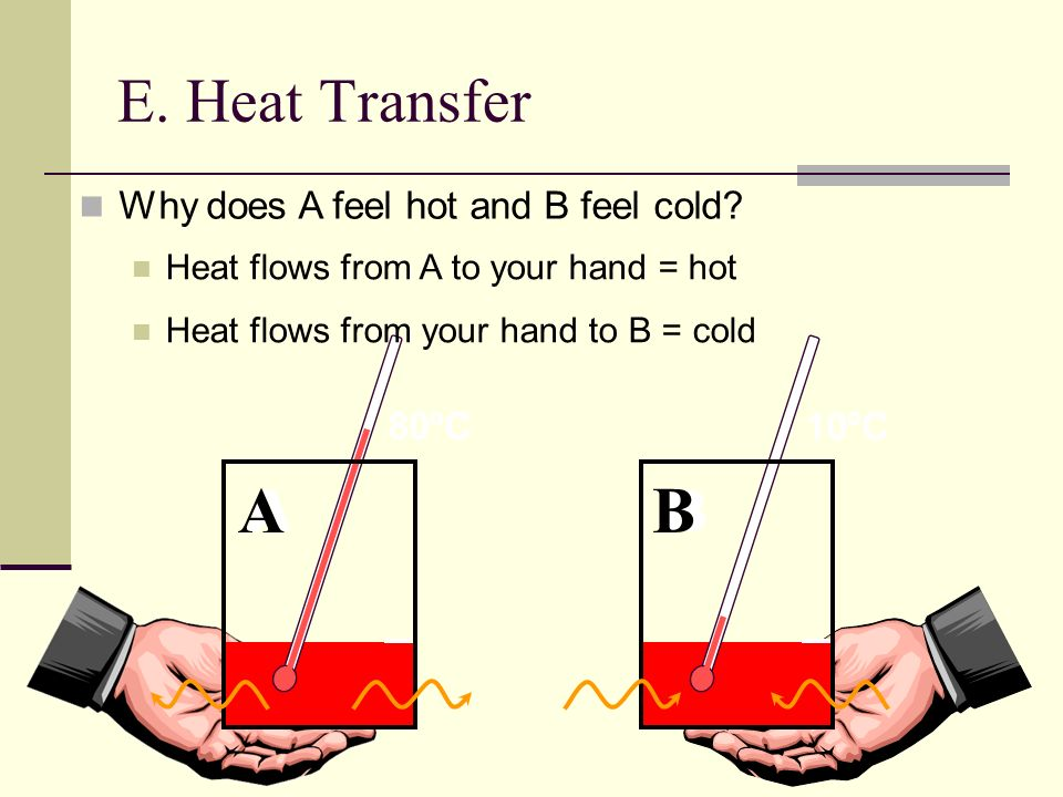 E. Heat Transfer Why does A feel hot and B feel cold? 80ºC A 10ºC B Heat flows from A to your hand = hot Heat flows from your hand to B = cold A B