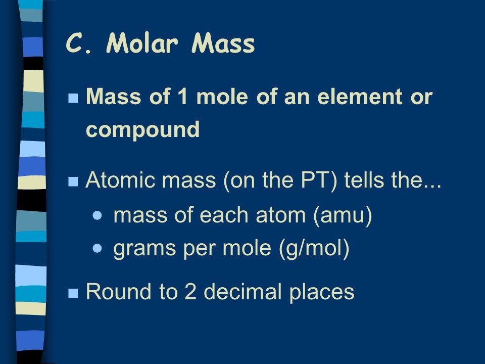 Representative Particles & Moles SubstanceChemical Formula Representative Particle Rep Particles in 1.00 mole Carbon CAtom 6.02 x 10 23 Nitrogen gas N2N2 Molecule 6.02 x 10 23 Calcium ion Ca 2+ Ion 6.02 x 10 23 Magnesium fluoride MgF 2 Formula unit 6.02 x 10 23