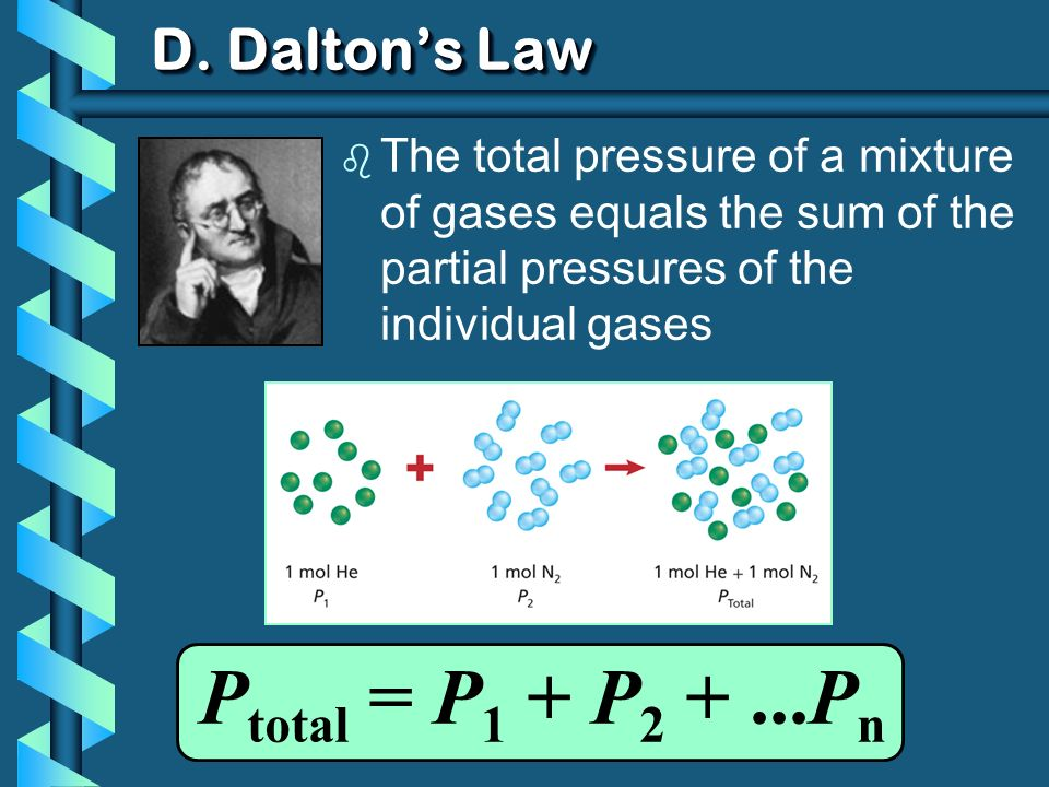 D. Daltons Law b The total pressure of a mixture of gases equals the sum of the partial pressures of the individual gases P total = P 1 + P 2 +...P n