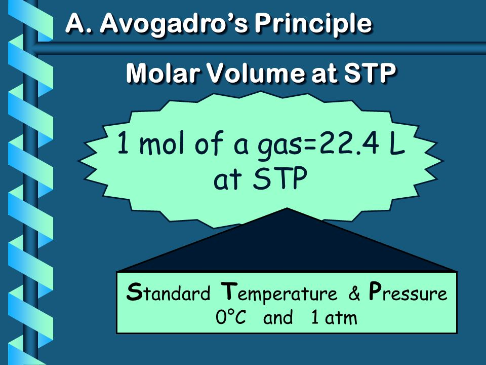 1 mol of a gas=22.4 L at STP Molar Volume at STP S tandard T emperature & P ressure 0°C and 1 atm A.