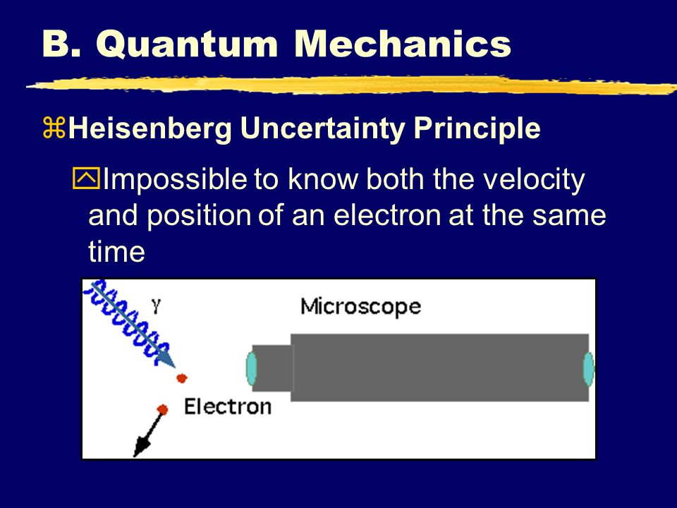 B. Quantum Mechanics zHeisenberg Uncertainty Principle yImpossible to know both the velocity and position of an electron at the same time