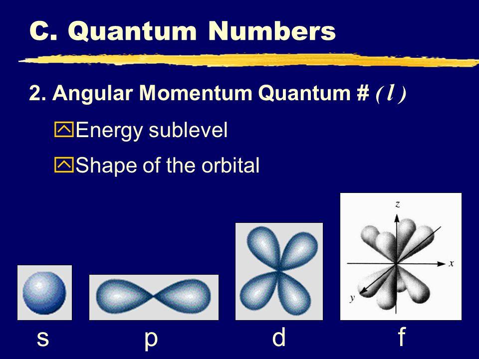 C. Quantum Numbers s p d f 2. Angular Momentum Quantum # ( l ) yEnergy sublevel yShape of the orbital