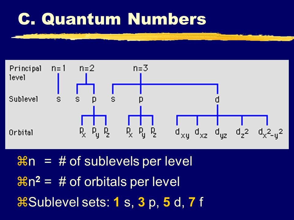 C. Quantum Numbers zn=# of sublevels per level zn 2 =# of orbitals per level zSublevel sets: 1 s, 3 p, 5 d, 7 f