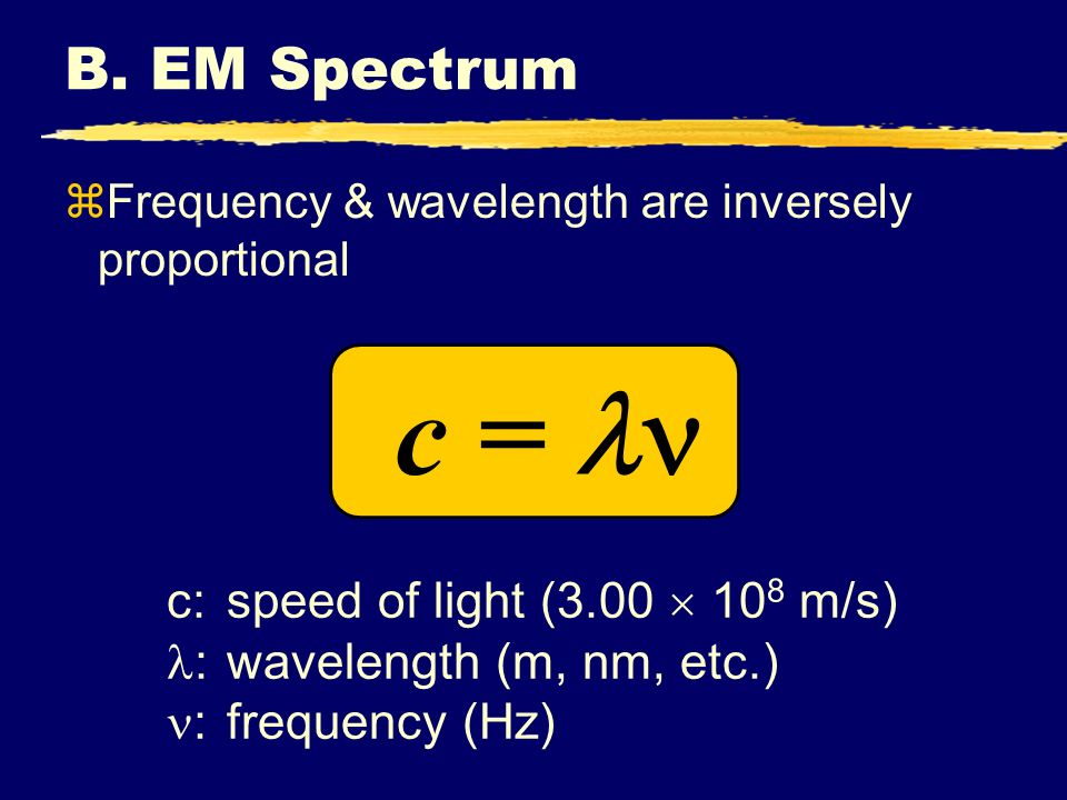 B. EM Spectrum zFrequency & wavelength are inversely proportional c = c:speed of light (3.00 10 8 m/s) :wavelength (m, nm, etc.) :frequency (Hz)