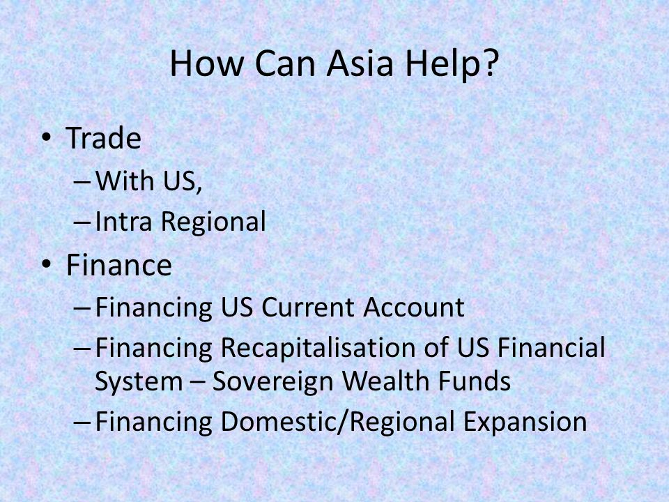 How Can Asia Help.