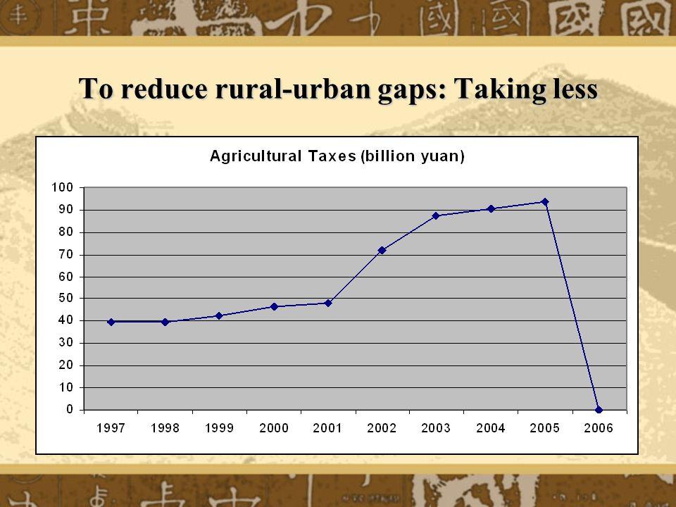 To reduce rural-urban gaps: Taking less