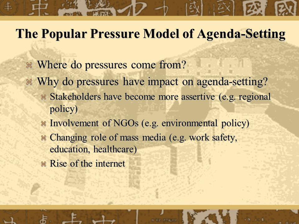The Popular Pressure Model of Agenda-Setting Where do pressures come from? Where do pressures come from? Why do pressures have impact on agenda-settin