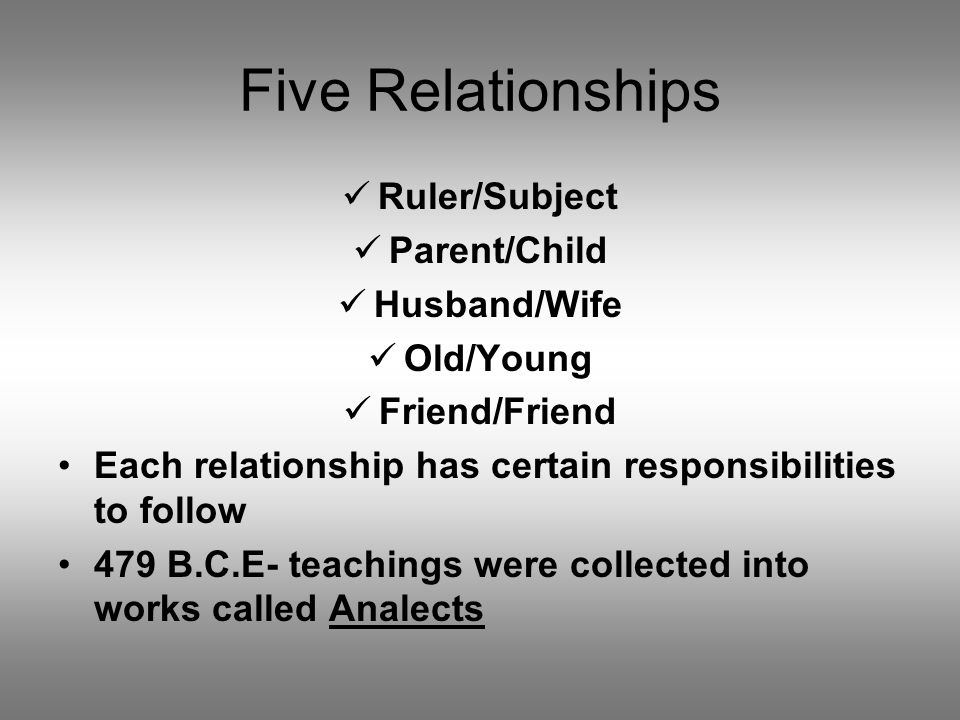 Five Relationships Ruler/Subject Parent/Child Husband/Wife Old/Young Friend/Friend Each relationship has certain responsibilities to follow 479 B.C.E-