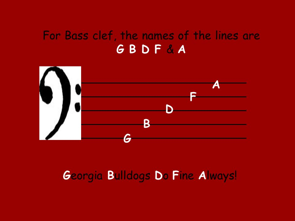 For Bass clef, the names of the lines are G B D F & A G B D F A Georgia Bulldogs Do Fine Always!