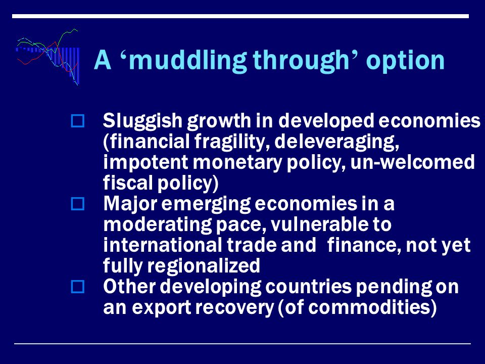 A muddling through option Sluggish growth in developed economies (financial fragility, deleveraging, impotent monetary policy, un-welcomed fiscal policy) Major emerging economies in a moderating pace, vulnerable to international trade and finance, not yet fully regionalized Other developing countries pending on an export recovery (of commodities)