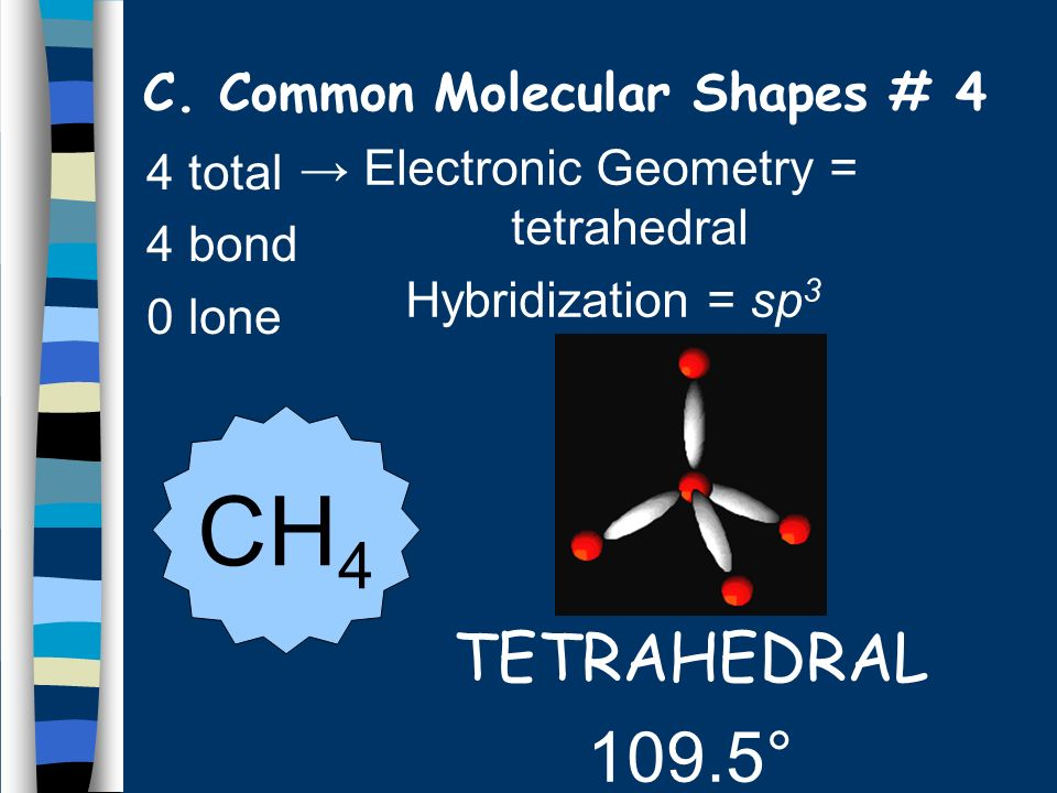 4 total 4 bond 0 lone TETRAHEDRAL 109.5° CH 4 C. Common Molecular Shapes # 4 Electronic Geometry = tetrahedral Hybridization = sp 3