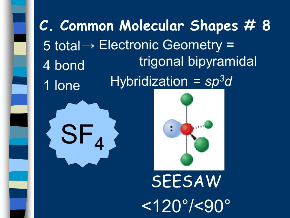 5 total 4 bond 1 lone SEESAW <120°/<90° SF 4 C. Common Molecular Shapes # 8 Electronic Geometry = trigonal bipyramidal Hybridization = sp 3 d
