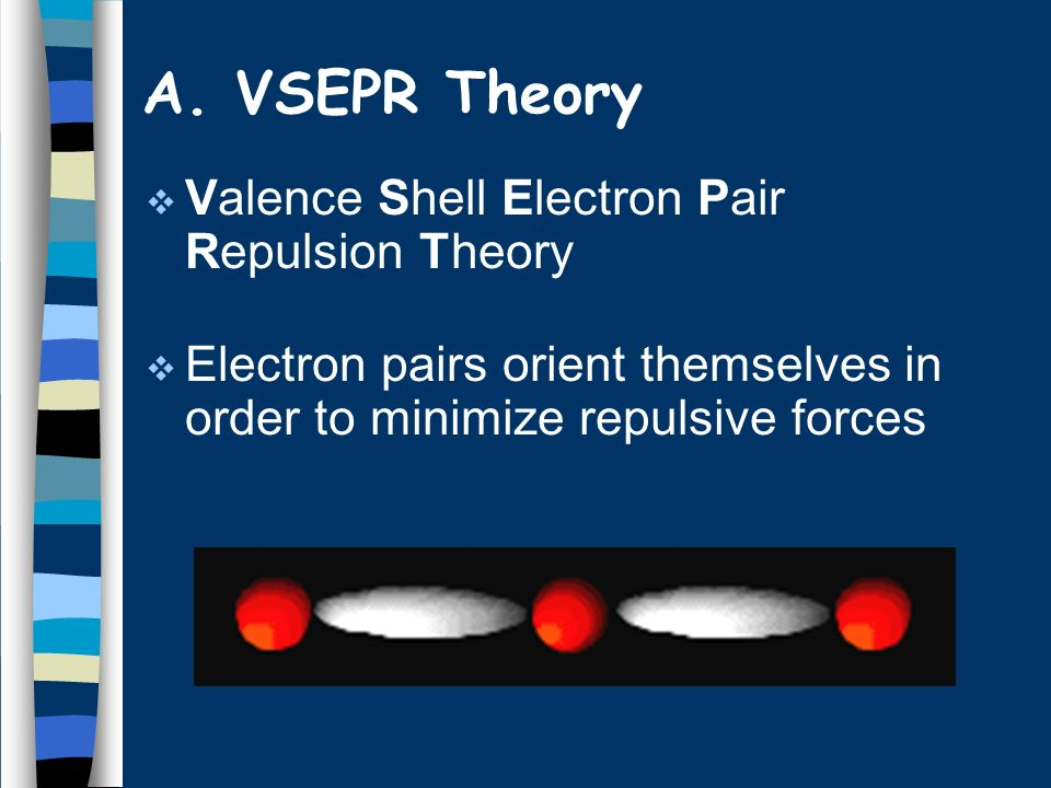 A. VSEPR Theory Valence Shell Electron Pair Repulsion Theory Electron pairs orient themselves in order to minimize repulsive forces