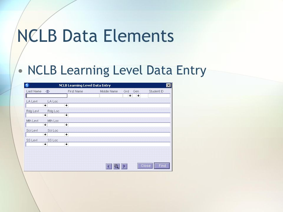 NCLB Data Elements NCLB Learning Level Data Entry