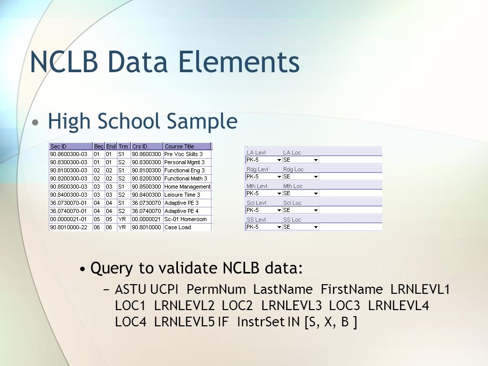NCLB Data Elements High School Sample Query to validate NCLB data: ASTU UCPI PermNum LastName FirstName LRNLEVL1 LOC1 LRNLEVL2 LOC2 LRNLEVL3 LOC3 LRNLEVL4 LOC4 LRNLEVL5 IF InstrSet IN [S, X, B ]