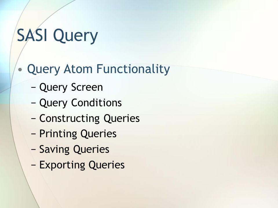 SASI Query Query Atom Functionality Query Screen Query Conditions Constructing Queries Printing Queries Saving Queries Exporting Queries