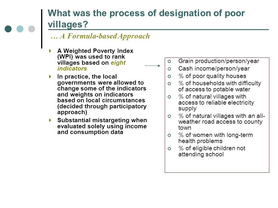 What was the process of designation of poor villages.