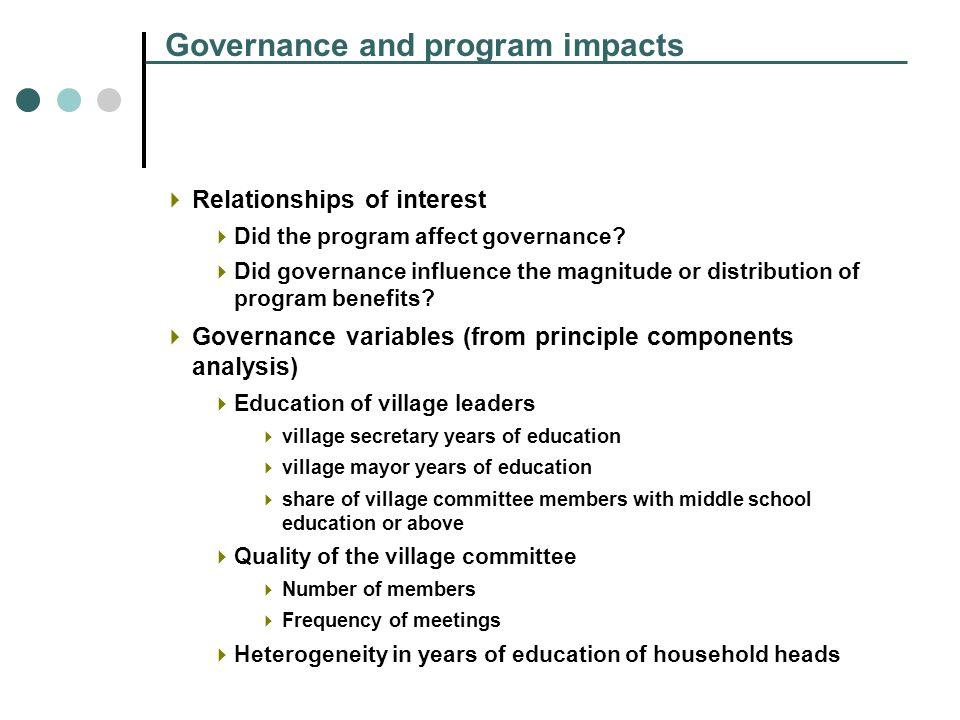 Governance and program impacts Relationships of interest Did the program affect governance.