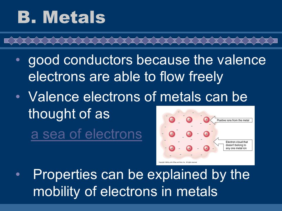 good conductors because the valence electrons are able to flow freely Valence electrons of metals can be thought of as a sea of electrons Properties c