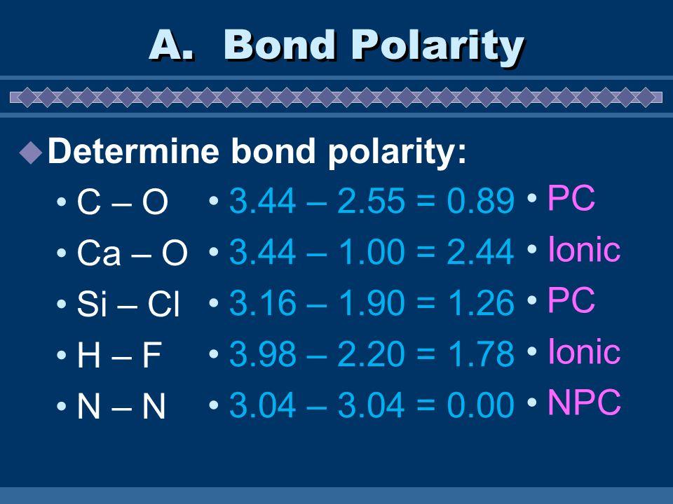 A. Bond Polarity Determine bond polarity: C – O Ca – O Si – Cl H – F N – N 3.44 – 2.55 = 0.89 3.44 – 1.00 = 2.44 3.16 – 1.90 = 1.26 3.98 – 2.20 = 1.78