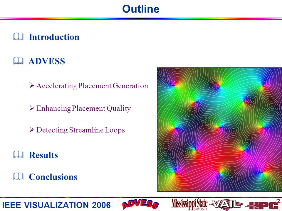 Outline Results Conclusions Introduction ADVESS Accelerating Placement Generation Enhancing Placement Quality Detecting Streamline Loops IEEE VISUALIZATION 2006