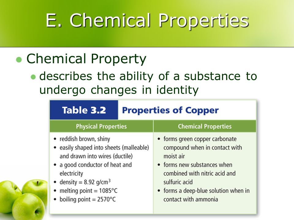 E. Chemical Properties Chemical Property describes the ability of a substance to undergo changes in identity