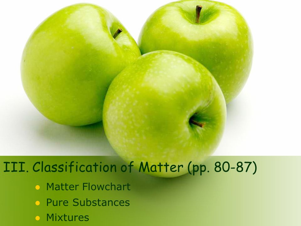 III. Classification of Matter (pp. 80-87) Matter Flowchart Pure Substances Mixtures