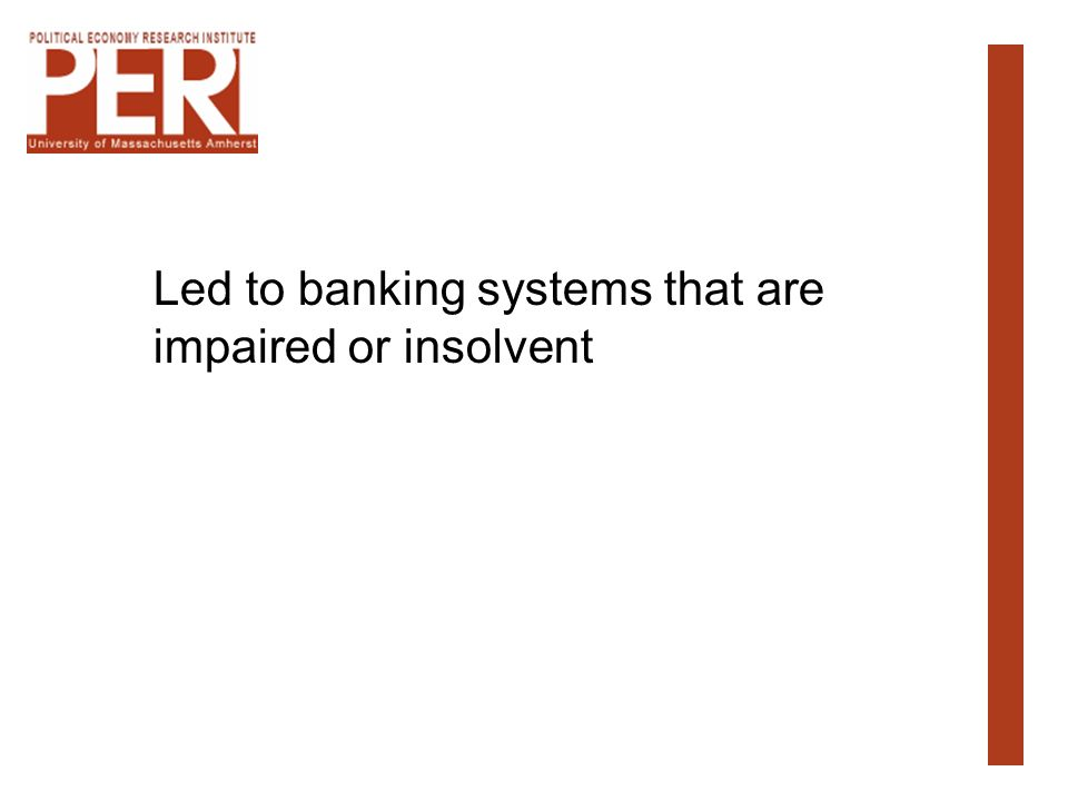 Led to banking systems that are impaired or insolvent
