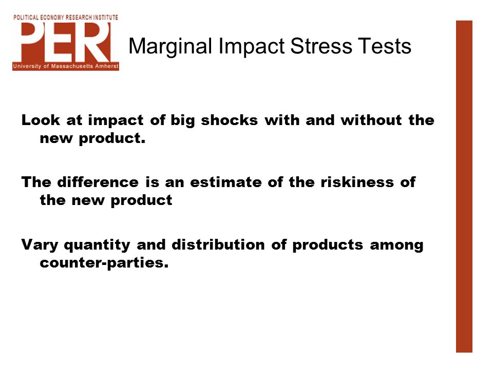 Marginal Impact Stress Tests Look at impact of big shocks with and without the new product.