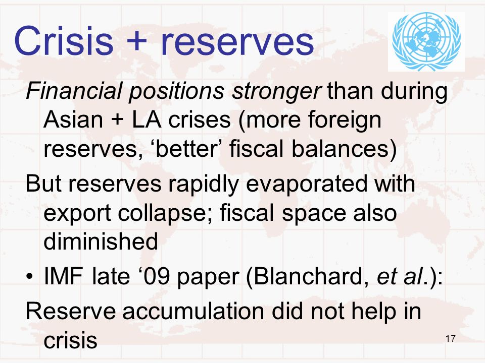 17 Crisis + reserves Financial positions stronger than during Asian + LA crises (more foreign reserves, better fiscal balances) But reserves rapidly e