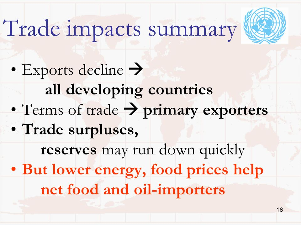 16 Trade impacts summary Exports decline all developing countries Terms of trade primary exporters Trade surpluses, reserves may run down quickly But lower energy, food prices help net food and oil-importers