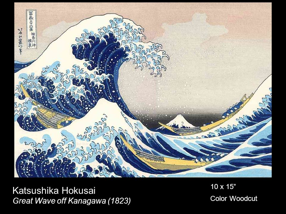 Katsushika Hokusai Great Wave off Kanagawa (1823) 10 x 15 Color Woodcut