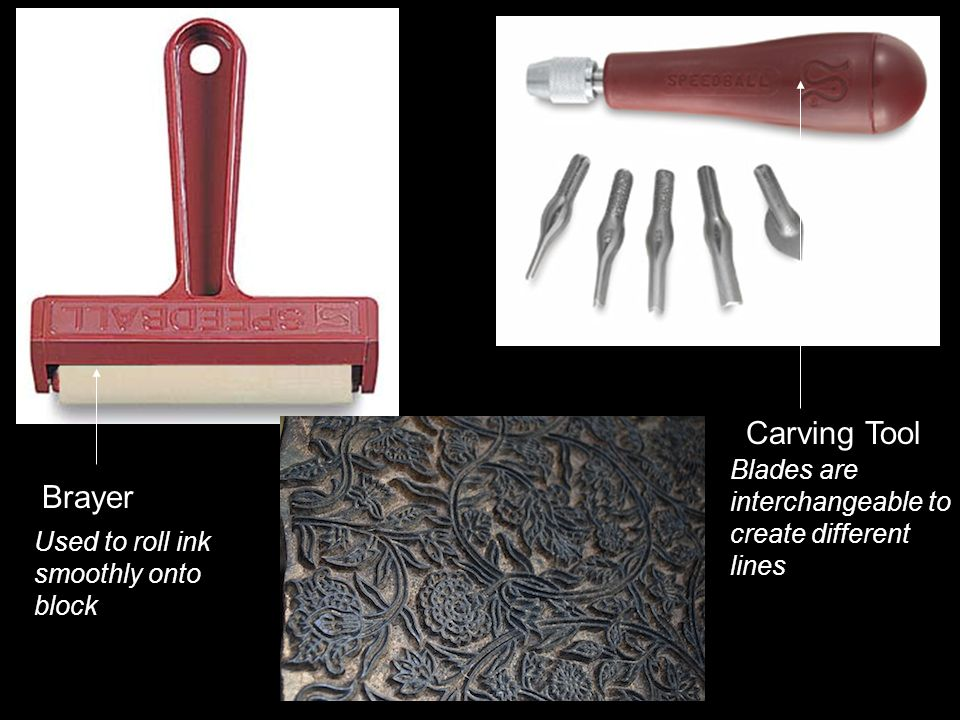 Carving Tool Brayer Used to roll ink smoothly onto block Blades are interchangeable to create different lines
