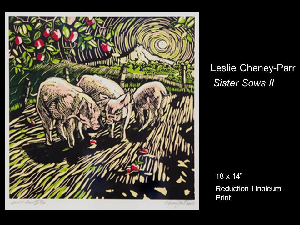 Leslie Cheney-Parr Sister Sows II 18 x 14 Reduction Linoleum Print
