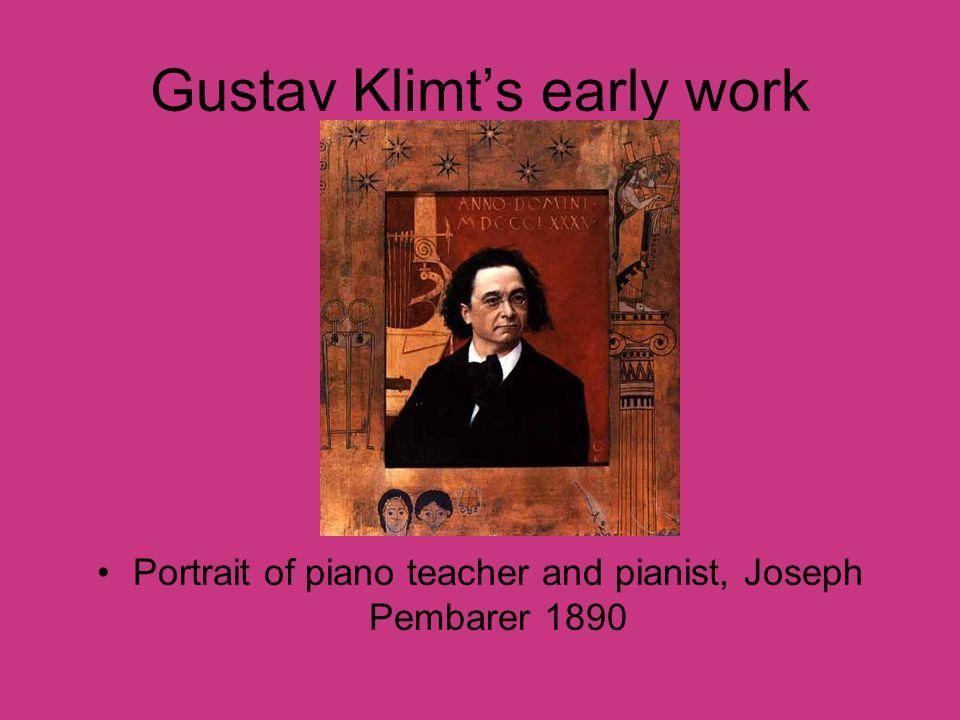 Gustav Klimts early work Portrait of piano teacher and pianist, Joseph Pembarer 1890