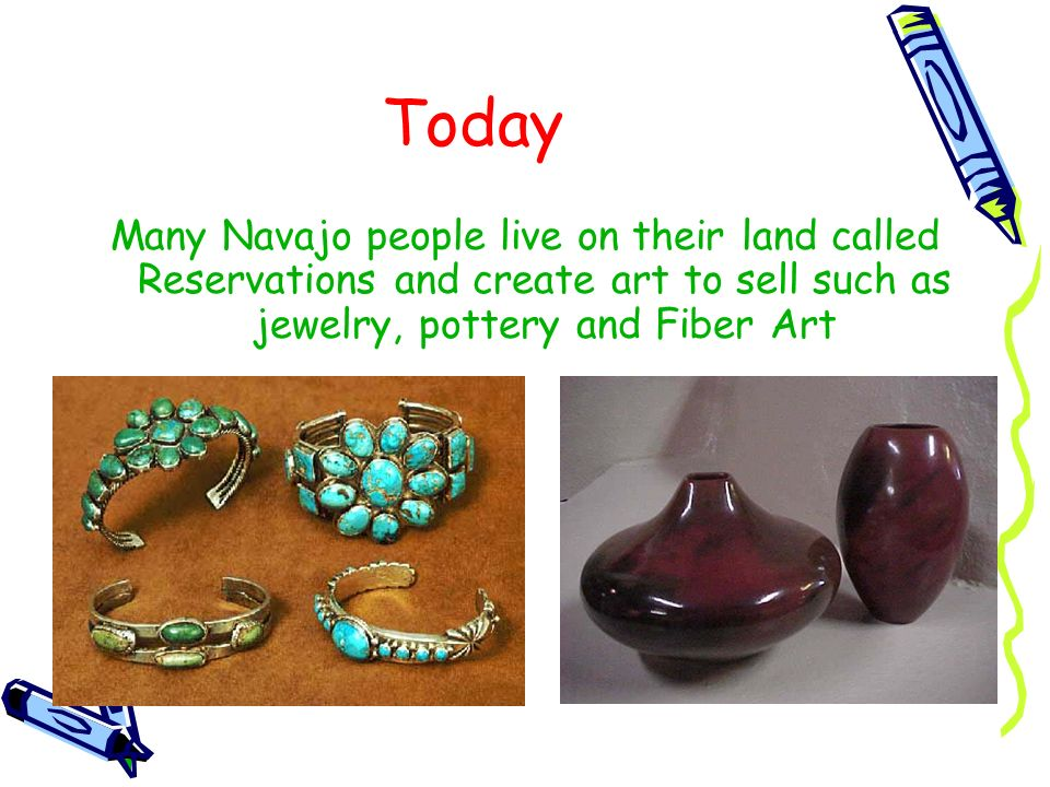 Today Many Navajo people live on their land called Reservations and create art to sell such as jewelry, pottery and Fiber Art