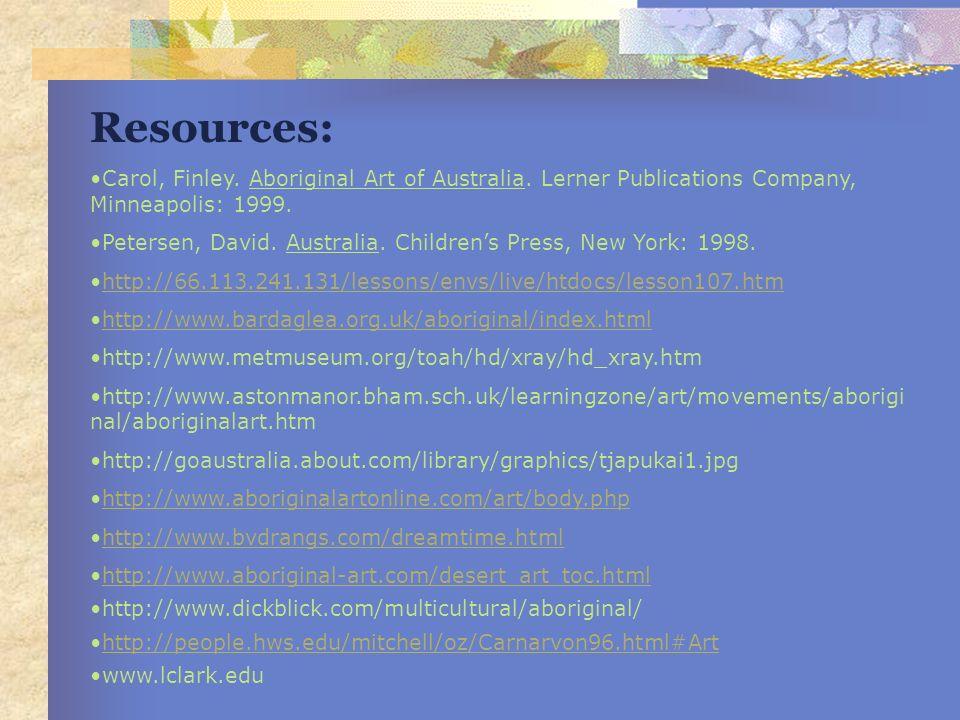 Resources: Carol, Finley. Aboriginal Art of Australia. Lerner Publications Company, Minneapolis: 1999. Petersen, David. Australia. Childrens Press, Ne