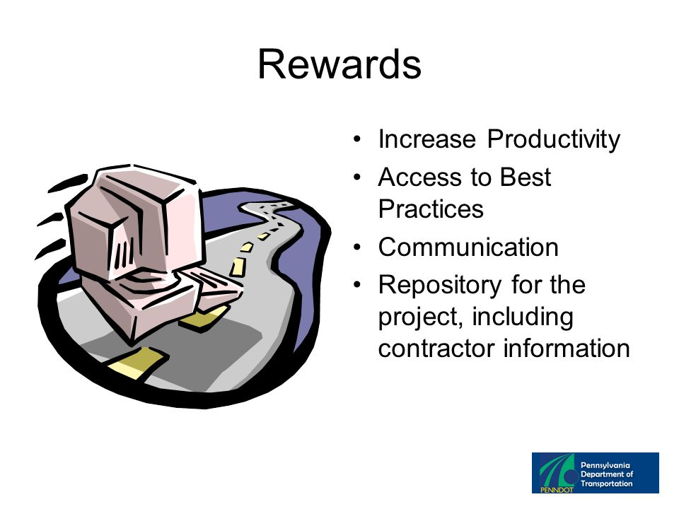 Rewards Increase Productivity Access to Best Practices Communication Repository for the project, including contractor information