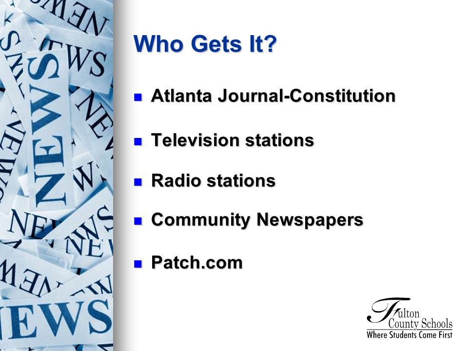 Atlanta Journal-Constitution Atlanta Journal-Constitution Television stations Television stations Radio stations Radio stations Community Newspapers Community Newspapers Patch.com Patch.com Who Gets It