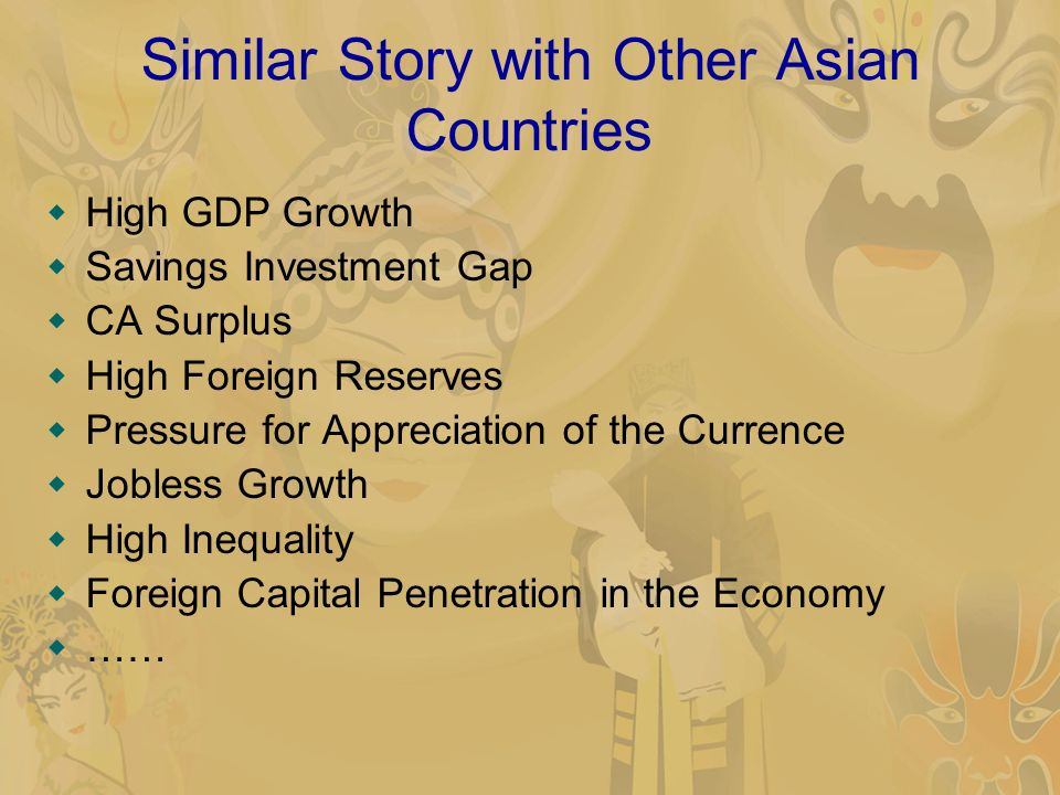 Similar Story with Other Asian Countries High GDP Growth Savings Investment Gap CA Surplus High Foreign Reserves Pressure for Appreciation of the Currence Jobless Growth High Inequality Foreign Capital Penetration in the Economy ……