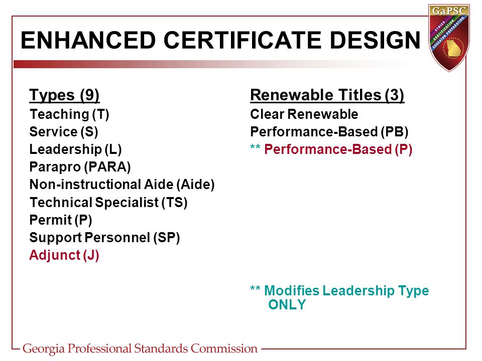 NON-RENEWABLE NON-PROFESSIONAL Removed from Non-Renewable Professional (N) Title Similar to old Provisional certificate Bachelors degree minimum with 2.5 GPA Pre-requisite basic skills and content assessments (except for Special Ed fields) 5-year validity and cannot be renewed or extended Completes approved traditional program, applicable content assessment, and Special GA Requirements for recommendation Converts to Clear Renewable certificate upon recommendation