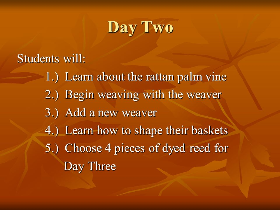 Day Two Students will: 1.) Learn about the rattan palm vine 2.) Begin weaving with the weaver 3.) Add a new weaver 4.) Learn how to shape their basket