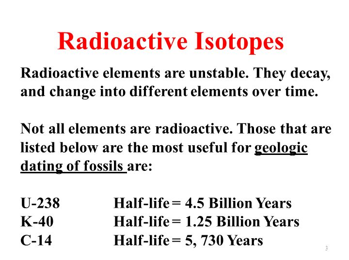 Radioactive Decay and Half Life Here are some facts to remember: 1.The half-life of an element is the time it takes for half of the material you started with to decay.