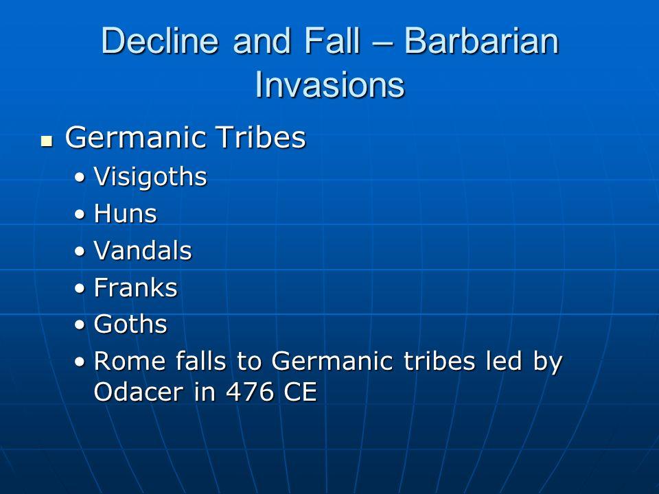 Decline and Fall – Barbarian Invasions Germanic Tribes Germanic Tribes VisigothsVisigoths HunsHuns VandalsVandals FranksFranks GothsGoths Rome falls t