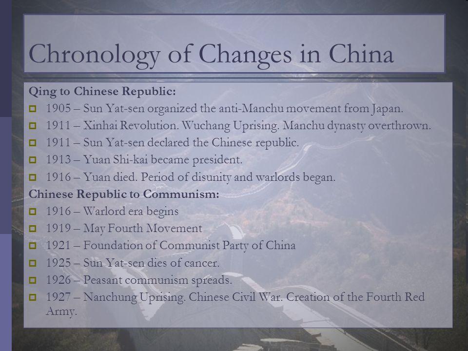 Chronology of Changes in China Qing to Chinese Republic: 1905 – Sun Yat-sen organized the anti-Manchu movement from Japan. 1911 – Xinhai Revolution. W