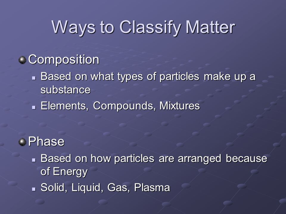 Ways to Classify Matter Composition Based on what types of particles make up a substance Based on what types of particles make up a substance Elements