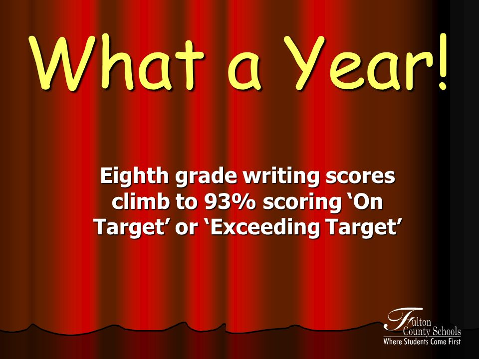 What a Year! Eighth grade writing scores climb to 93% scoring On Target or Exceeding Target