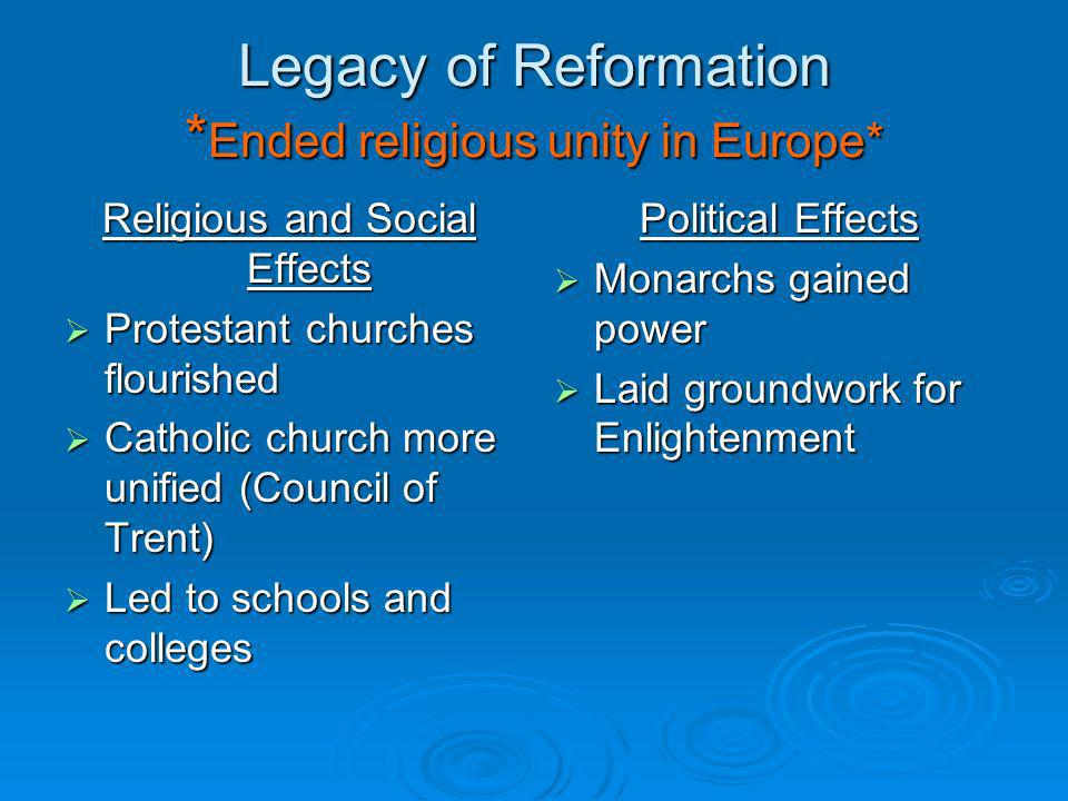 Legacy of Reformation * Ended religious unity in Europe* Religious and Social Effects Protestant churches flourished Protestant churches flourished Catholic church more unified (Council of Trent) Catholic church more unified (Council of Trent) Led to schools and colleges Led to schools and colleges Political Effects Monarchs gained power Monarchs gained power Laid groundwork for Enlightenment Laid groundwork for Enlightenment